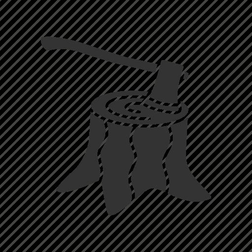 axe, deforestation, root, stump, tree, wood, woodcut icon