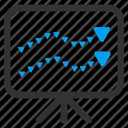 board, chart, dotted, graph, presentation, statistics, trends icon