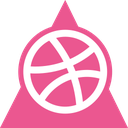 dribbble, media, social, triangle icon