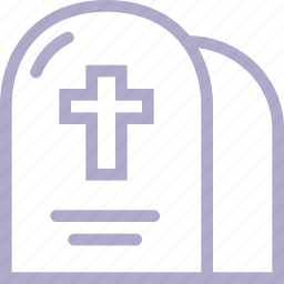 cemetery, cross, death, grave, halloween, headstone icon
