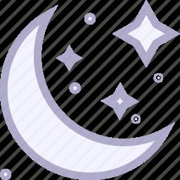 crescent, halloween, moon, night, star icon