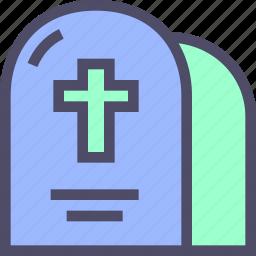 cemetery, cross, grave, halloween, headstone icon