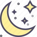 crescent, halloween, moon, night, star icon