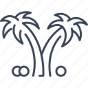 beach, coconut, palm, tree, trip icon