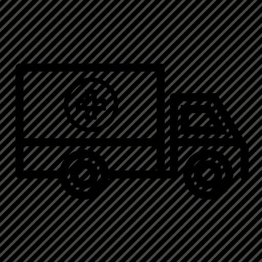 delivery truck, medicine truck, transport, truck, truck loading medicine icon