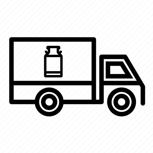 delivery truck, milk delivery, milk van, transport, truck, truck loading milk icon