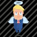 angel, emoji, emoticon, man, sticker, trump icon