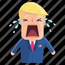 crying, emoji, emoticon, man, sticker, trump, donald trump