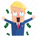 emoji, emoticon, man, money, sticker, trump, donald trump