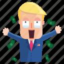 emoji, emoticon, man, money, sticker, trump, donald trump icon