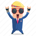 emoji, emoticon, man, rocker, sticker, trump, donald trump