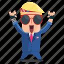 emoji, emoticon, man, rocker, sticker, trump, donald trump icon