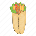 cartoon, delicious, design, doner, kebab, shawarma, turkish icon