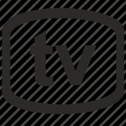 label, screen, tv, vision icon