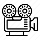 camera, reel, thin, vector, video, yul925 icon