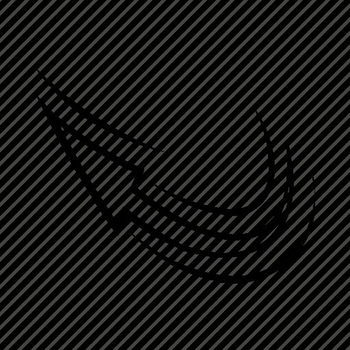 arrow, childish, curve, doodle, hand drawn, retro, twisted icon