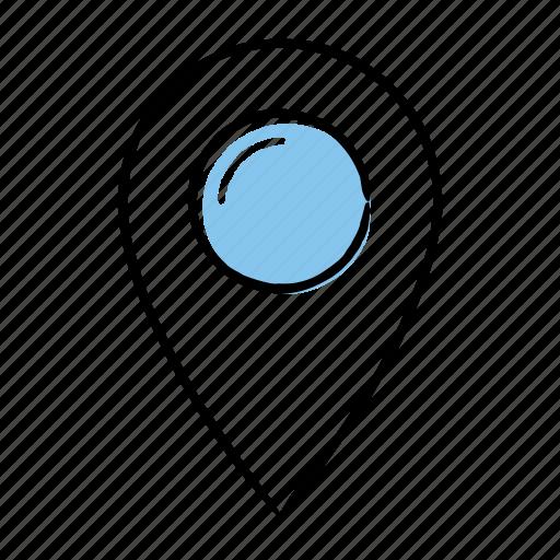 hand-drawn, location, map, pin icon