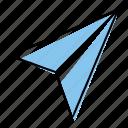 hand-drawn, message, paperplane, send icon
