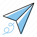 fly, hand-drawn, paperplane, send icon