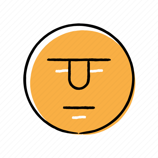 emoji, emoticon, hand-drawn, serious icon