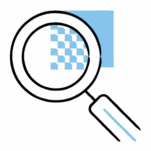 hand-drawn, magnify, search, zoom icon