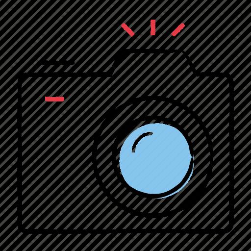 camera, flash, hand-drawn, photography icon