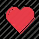 hand-drawn, heart, like, love icon