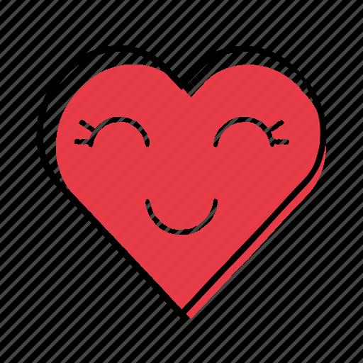 cute, hand-drawn, heart, love icon