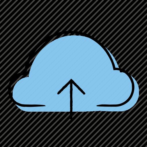 arrow, cloud, hand-drawn, upload icon