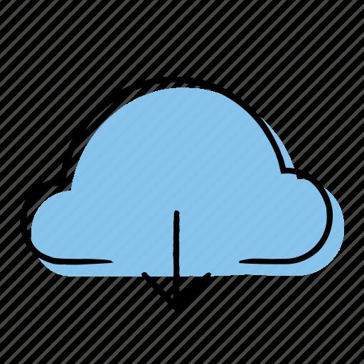 arrow, cloud, download, hand-drawn icon