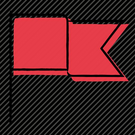 bookmark, flag, hand-drawn, mark icon