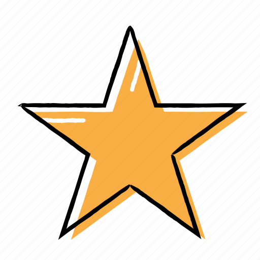 favourite, hand-drawn, like, star icon
