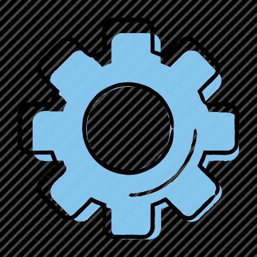 gear, hand-drawn, settings, setup icon