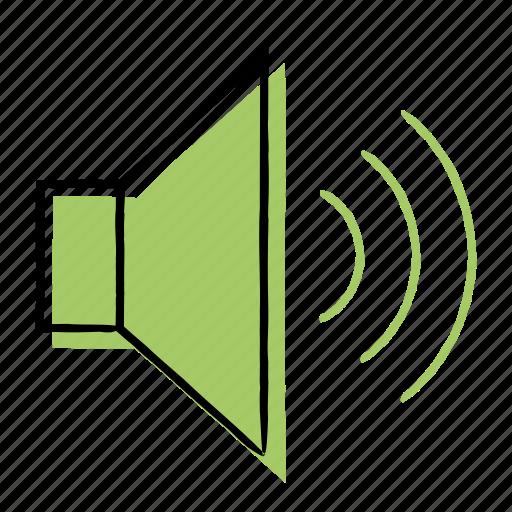 audio, hand-drawn, sound, volume icon