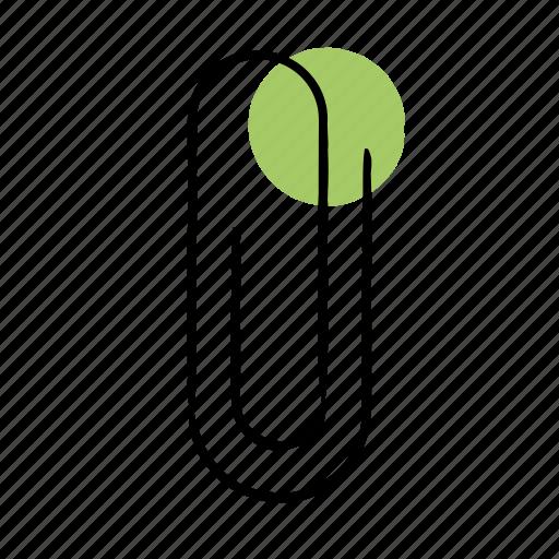 attach, clip, hand-drawn, paperclip icon