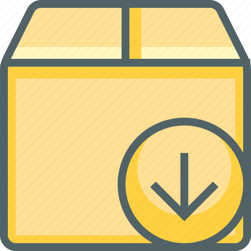 arrow, box, delivery, down, downlaod, package, shipping icon