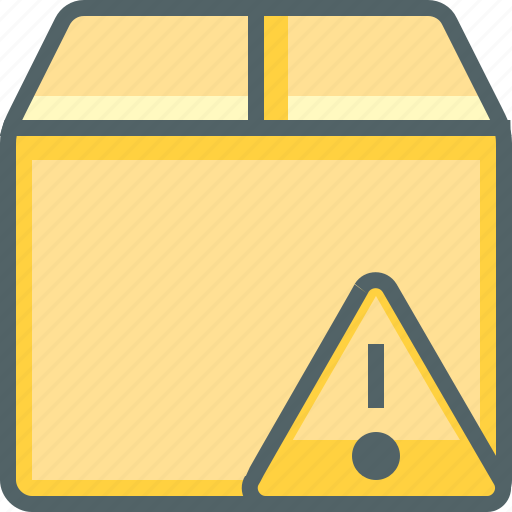 alert, box, caution, delivery, package, shipping, warning icon