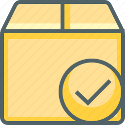 accept, box, check, delivery, mark, package, shipping icon