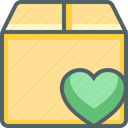 bookmark, box, delivery, favourite, heart, package, shipping icon