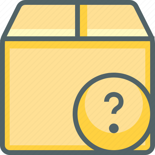 box, delivery, help, package, question, shipping, support icon