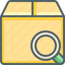 box, delivery, find, magnifier, package, search, shipping icon