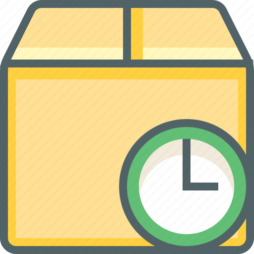 box, clock, delivery, package, shipping, time, timer icon
