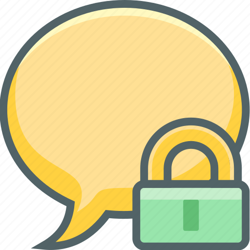 bubble, communication, lock, message, protection, safe, secure icon