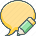 bubble, chat, communication, edit, message, pencil, write icon