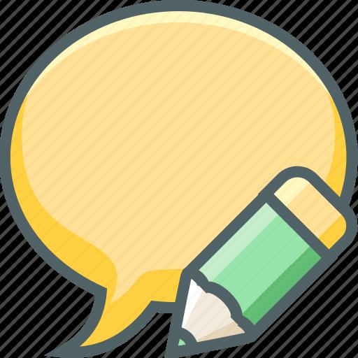 bubble, chat, communication, edit, message, pencil, write icon