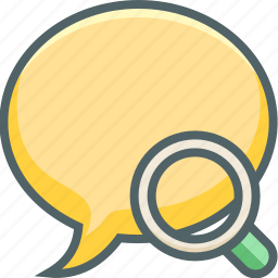 bubble, chat, communication, find, magnifyer, message, search icon