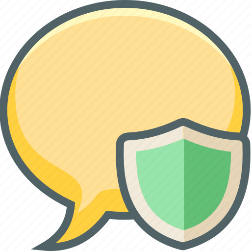 bubble, communication, message, protection, safe, secure, shield icon