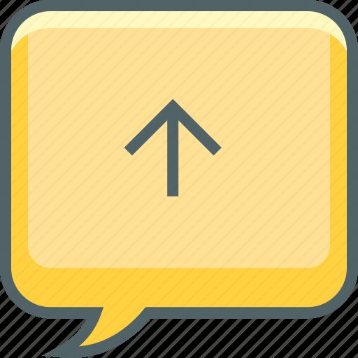 arrow, bubble, communication, message, send, square, up icon