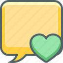 bookmark, bubble, communication, favourite, heart, message, square icon