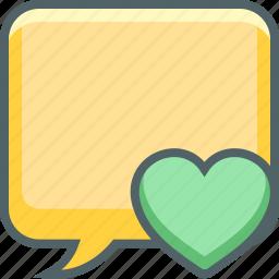 bookmark, bubble, communication, favourite, heart, message, square icon